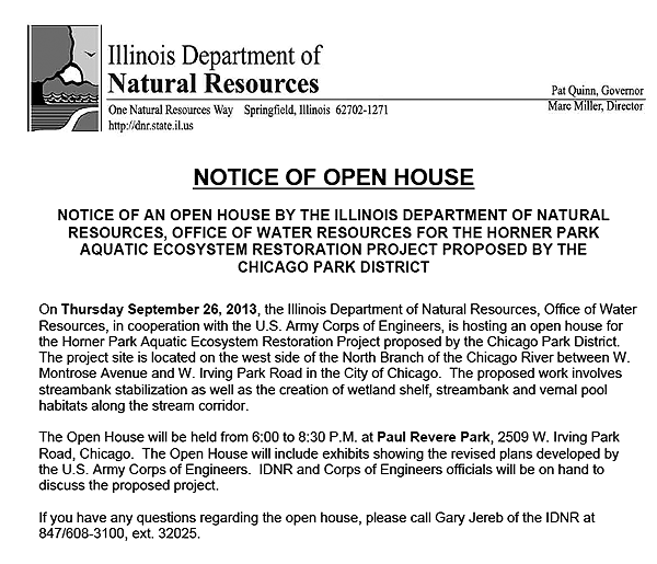 IL DNR & USACE open house re Horner Park riverbank project