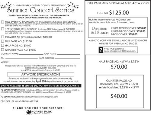 Concert Series Ad sheet